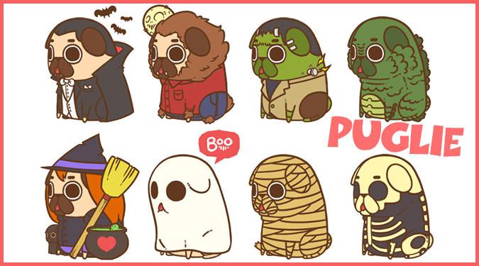 パグ犬と人気キャラクターを融合した可愛らしいイラストシリーズ