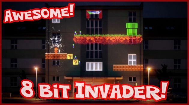 人気ゲームキャラクターをビルの壁に映し出したユニークな作品