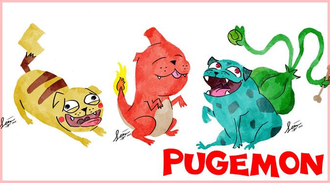 ポケモンとパグを融合した可愛いらしいイラスト!パグモンシリーズ!