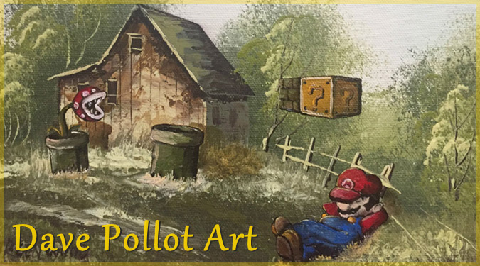 リサイクルショップの古い絵画に人気キャラクターを加えた作品!
