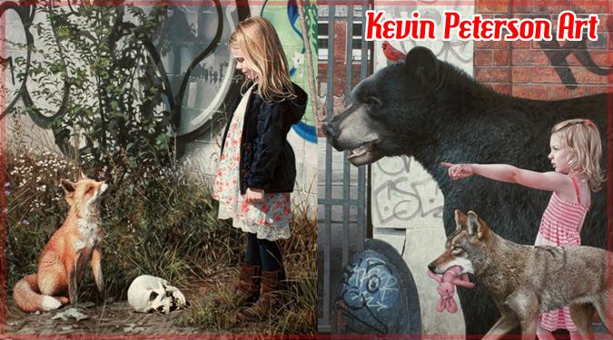 廃墟の落書きの前を歩く少女と動物を描いたアート作品