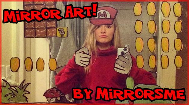 鏡に描いた作品と自分自身を自撮りする落書きアーティスト!