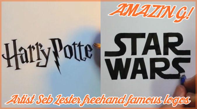有名なロゴのフォントをスラスラと描いていくレタリング動画!