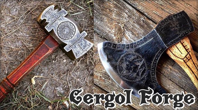 アメリカの鍛冶屋による美しい模様が刻まれたハンマーと斧の工具集!
