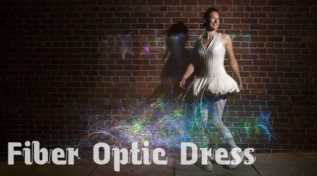 暗闇の中でゆらゆらと輝く魅惑的な光ファイバードレス!