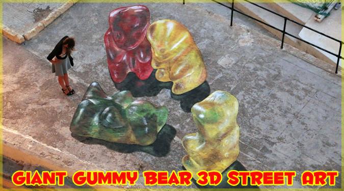 美味しそうな巨大ベアグミが路上に出現!?3Dに見えるトリックアート
