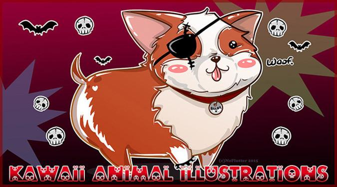 可愛い衣装に身を包んだダサ可愛い動物たちのイラスト作品!