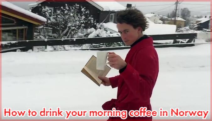雪の中で朝からコーヒーを片手に読書をするドヤ顔の青年!