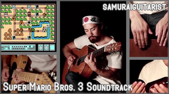 スーパーマリオ3の効果音とBGMを完璧に再現する侍ギタリスト
