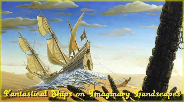 想像の世界をさ迷う幻想的な帆船を描いた海洋絵画