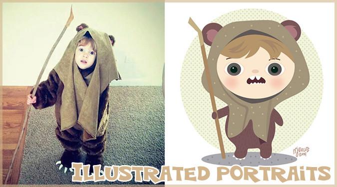 イラストレーターによる子どもの写真を愉快なイラストに変えた作品集