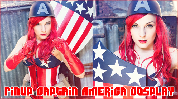 愛国的なピンナップ風のキャプテン・アメリカにコスプレした女の子