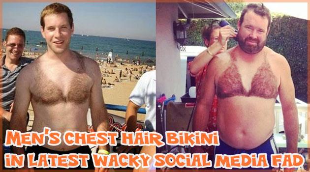 ソーシャルメディアで流行中の胸毛で作られた男性ブラジャー