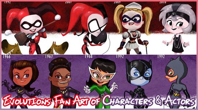 人気キャラクターと人気俳優たちの年代毎の変化を描いたイラスト!