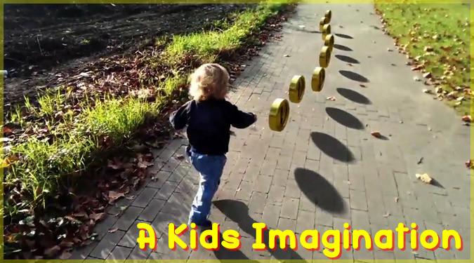 父親が息子の想像の世界にマリオのエフェクトを追加した短編動画