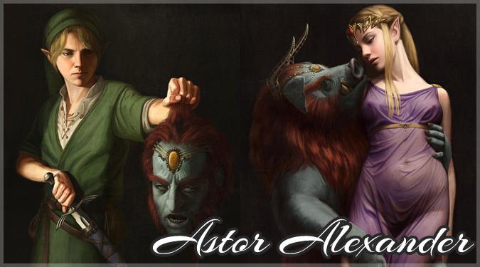 ゼルダの伝説のキャラクターをバロック風に描いたイラスト作品