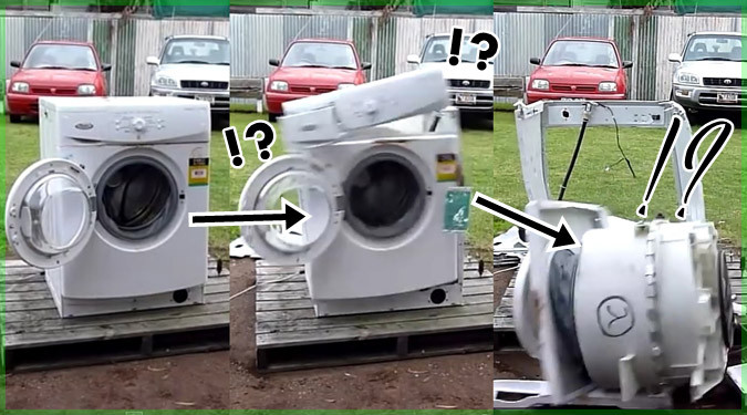 洗濯機に金属の塊を入れる実験動画が迫力あり過ぎて見ごたえ抜群!