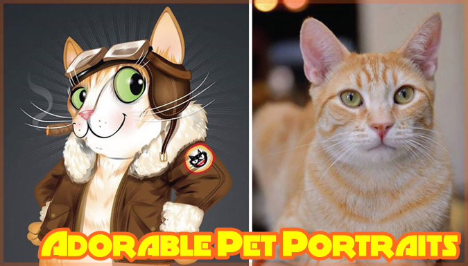 ペットの性格を反映させたカートゥーン調の愛らしいペットの肖像画集