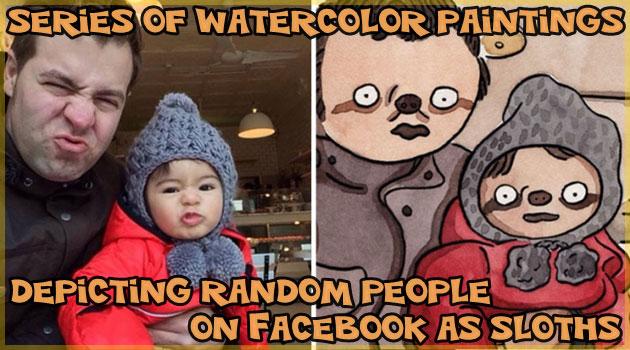 Facebook上の写真をランダムで選んで制作するナマケモノ化アート