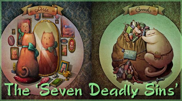 『七つの大罪』をネコさんが教えてくれるユーモラスなイラスト
