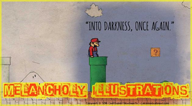 憂鬱な気分のゲームキャラクターたちを描いたイラスト作品
