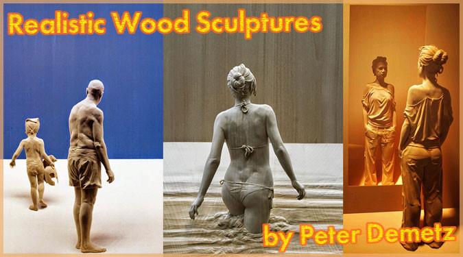 衣服の折り目や体の質感が驚くほどリアルで美しい木製彫刻アート
