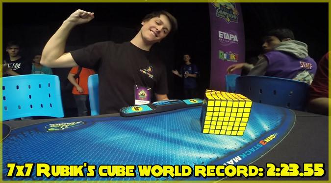 7x7x7のルービックキューブで世界新記録が樹立!時間は2分23秒55!