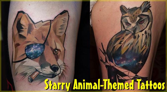 動物と宇宙を組み合わせたポリゴン風の超クールなタトゥー!