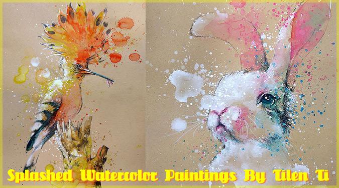 飛び散る絵の具が心地良い!動物の色鮮やかな水彩画作品!