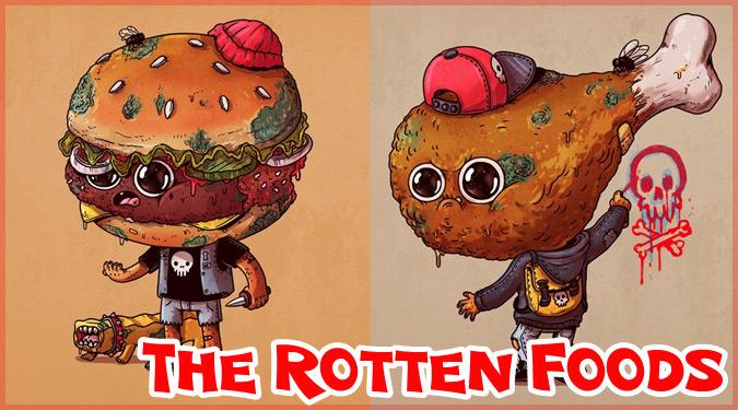 腐った食品たちを描いた愛らしくて愉快なイラスト作品