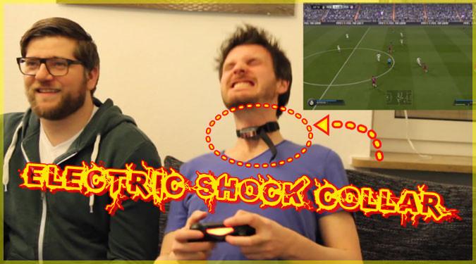 大声を出したら電気ショックが流れる首輪を付けてゲームプレイ!