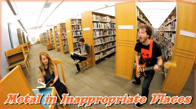 ヘビメタを披露するには不適切な場所でギターをかき鳴らす男!
