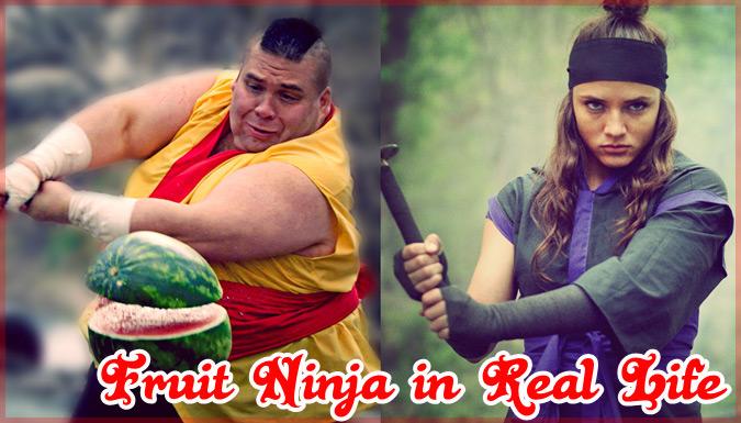 飛んでくるフルーツを切りまくる「Fruit Ninja」を現実で再現した動画作品
