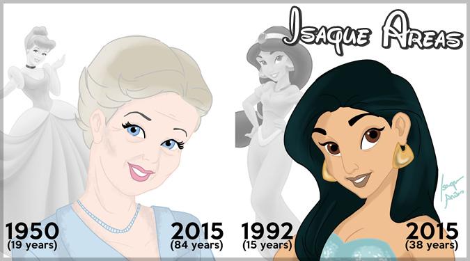 もしもディズニープリンセスが本当の年齢の姿で描かれていたら?
