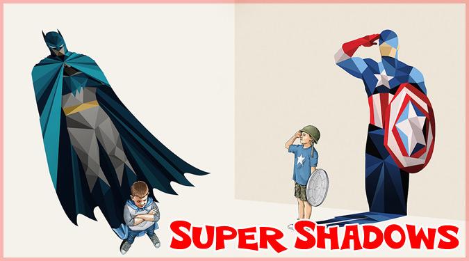 子どもの影をスーパーヒーローにしたクールなイラスト作品