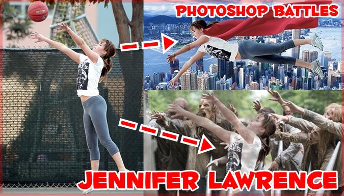 ジェニファー・ローレンスがバスケをしている写真でフォトショップバトル!