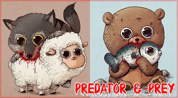 キュートな捕食者と被食者を描いたグロ可愛いイラスト作品!