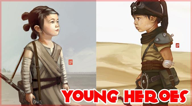 子どもを有名なキャラクターとして描いた小さな英雄たちのイラスト集