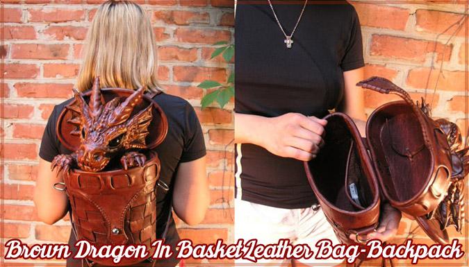 バッグから顔を出すドラゴンのレザー製バックパック!