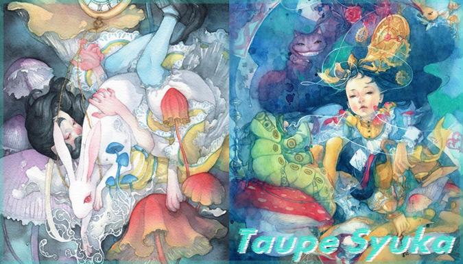 不思議の国のアリスと日本文化を融合した神秘的なイラスト作品