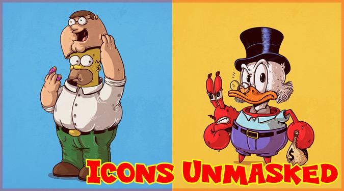 人気キャラクターたちの正体を描いたユーモア溢れるイラスト作品!
