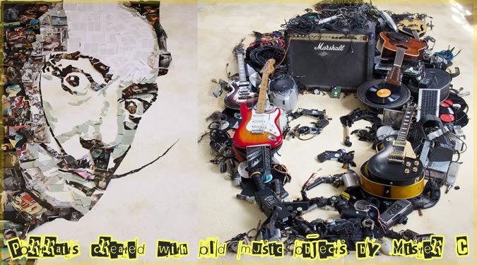 楽器などの廃棄物で作り上げた有名人たちの肖像アート作品!