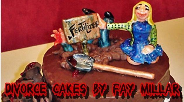 離婚を祝うための珍しいケーキ!離婚ということでホラーチック!