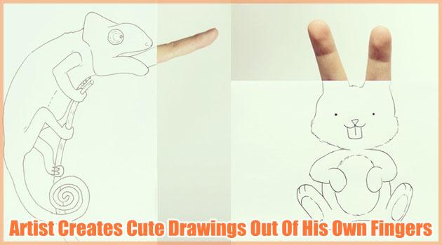 生き物の身体の一部を指で表現したシンプルで可愛い作品!