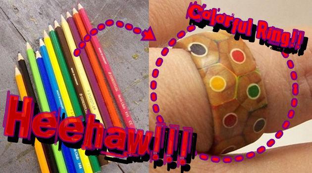 信じられない方法で色鉛筆から作りだすカラフルな木製リング!