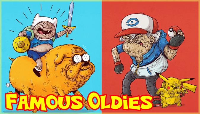 もしも人気キャラクターたちが歳をとったら?元気を与えるイラスト作品