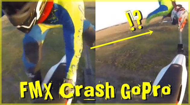 空中を舞うドライバー!バイクから見るFMXのクラッシュ映像