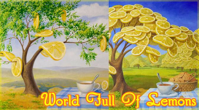 レモンに満ち溢れた世界を描いたシュルレアリスムの絵画作品
