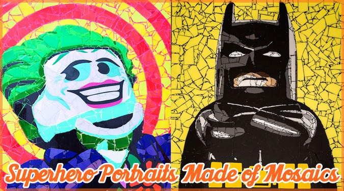 アメコミキャラクターたちをモザイクアートで表現したクールな作品!