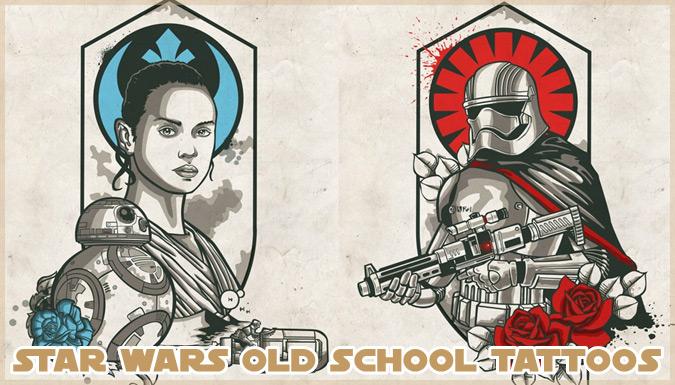 スター・ウォーズをテーマにしたOldSchoolスタイルのタトゥーデザイン!
